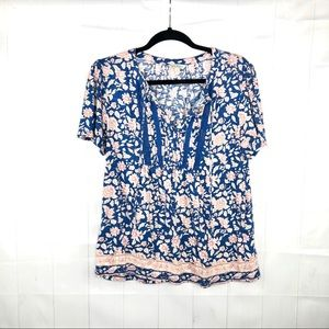 Lucky Brand Blue and Pink Floral Top